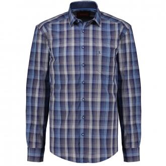 Modern kariertes Baumwollhemd, langarm blau/dunkelblau_155/4040   3XL