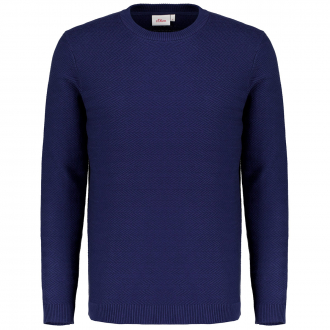 Leichter Baumwollpullover mit Struktur blau_5693   3XL