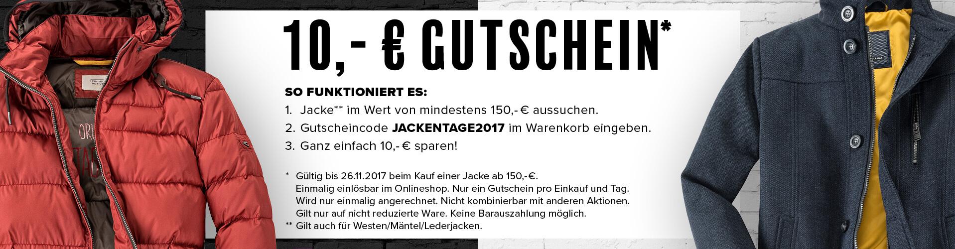 Jacken 10,- Euro Gutschein